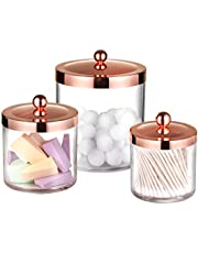 Premium Quality Apothecary Jars - Clear Plastic Storage Jars with Rust Proof Stainless Steel Lids - Bathroom Vanity Countertop Storage Organizer Canister Holder House Decor | Set of 3 (Rose Gold)