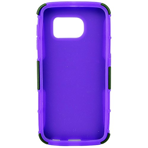 Customerfirst - Hard Shell Holster Combo Case For Samsung Galaxy S6 Edge Symbiosis Advanced Armor Impact Hybrid Soft Silicone Cover Hard Snap On Plastic Case Kick Stand with Belt Clip Holster - Includes Key Chain With Flash Light (H PURPLE)
