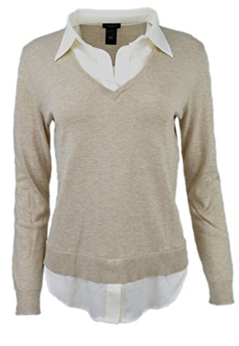 ann-taylor-womens-shirt-detail-ribbed-v-neck-sweater-beige-cream-x-small