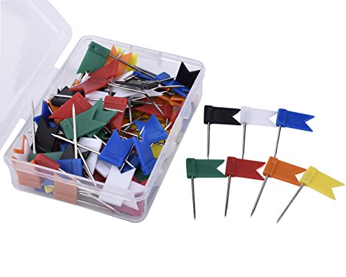 JoyFamily 105 Pieces Map Flag Push Pins Tacks, 7 Assorted Colors-15 Count of Each Color