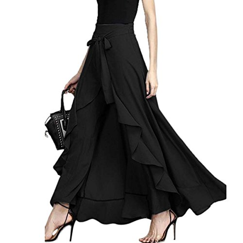 - FLORHO Women Casual Ruffle Palazzo Long Pants Split High Waist Pleated Maxi Skirt Black 3XL