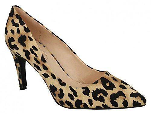 Punto Su Mocassini Da Donna In Pelle Sintetica Scarpe 7 Tan Leopard