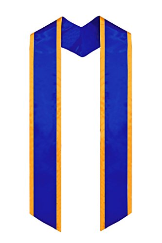GraduationMall Plain Graduation Honor Stole Angled End Royal With Gold Trim Unisex Adult 72'' Long by GraduationMall