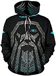 Feinny Odin Hoodies, 3D Tattoo Print Viking Compass & Ouroboros Long Sleeve Pullover, Men Sweatshirts with