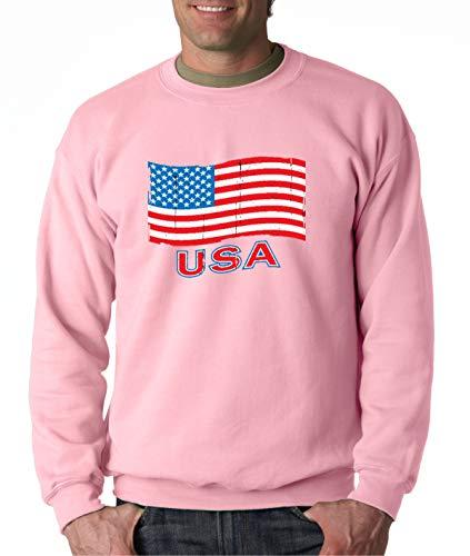 - Trendy USA 719 - Crewneck USA Flag Distressed Old Glory United States Unisex Pullover Sweatshirt 2XL Light Pink