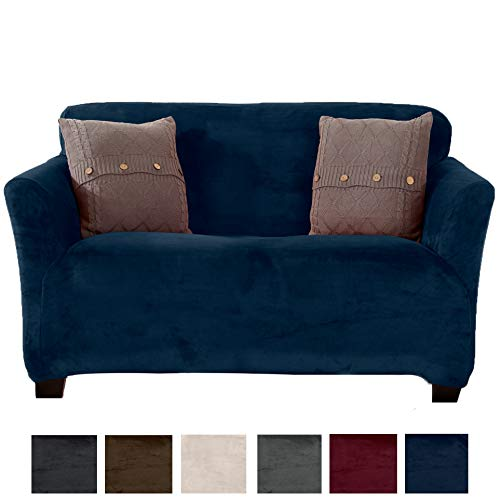 Great Bay Home Modern Velvet Plush Strapless Slipcover. Form Fit Stretch, Stylish Furniture Cover/Protector. Gale Collection Brand. (Loveseat, Dark Denim Blue)