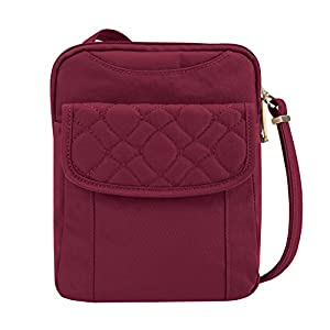 Travelon Anti-theft Signature Quilted Slim Pouch Bag, Ruby