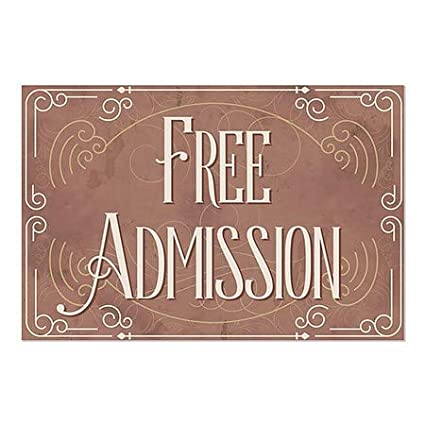 CGSignLab 5-Pack Free Admission 27x18 Victorian Card Window Cling