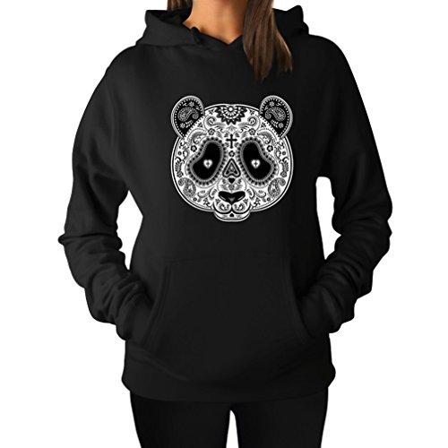 TeeStars Women's - Aztec Panda Head Hoodie XX-Large Black -