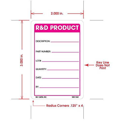 3 Inch x 2 Inch 500 per Roll R/&D Product Labels
