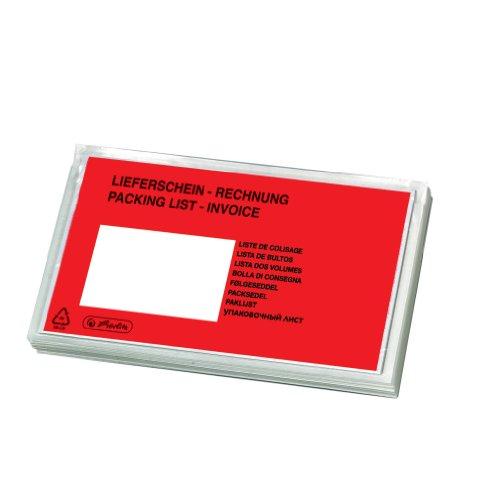 Herlitz 792705 - Bolsa para documentos DL, 100 unidades, autoadhesivas