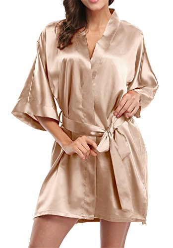 Giova Pure Color Satin Short Silky Bathrobe Sleepwear Nightgown Pajama,Champagne,Large