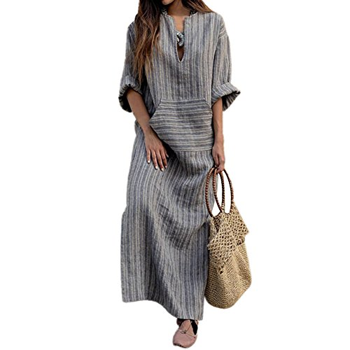 Linen Long Dress - iBaste_S Women's Summer Long Stripes Hollow Round Neck Casual Cotton & Linen Maxi Dress with Pockets