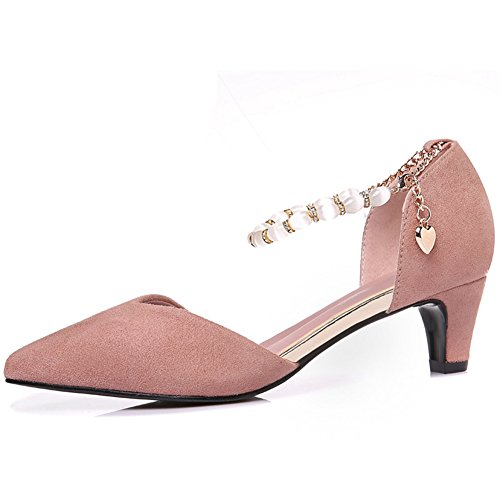 MAC Buckle Chic Pink U Toe High Shoes Strap Heels Pointy Pumps Women's CwWdqaT