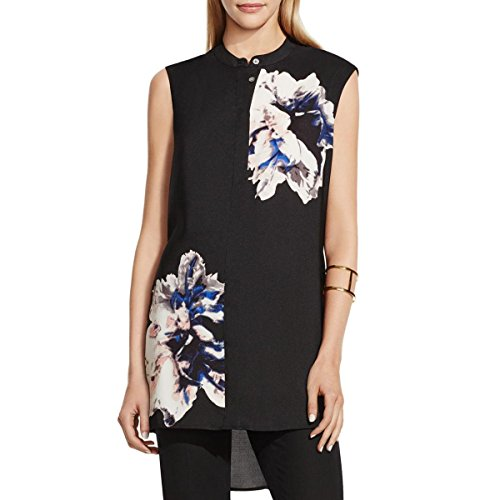 vince-camuto-womens-floral-print-button-down-tunic-top-black-m