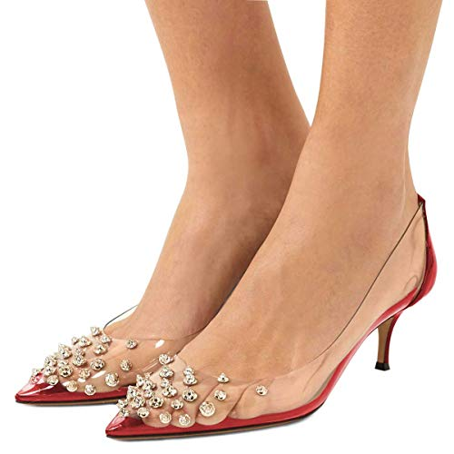 XYD Women Rhinestone Studded Pumps Pointy Toe Mid Spike Heel Slip On Transparent Clear PVC Evening Party Dress Shoes Size 8.5 Red