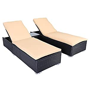 Stamo 3 PCS Outdoor Patio Wicker Rattan Furniture Sofa Set Adjustable Pool Chair Lounge Chair With Table