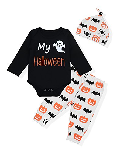 Seyouag Baby Boy Girl Outfits My First Halloween Rompers and Pants with Hat Costumes(3-6 Months)