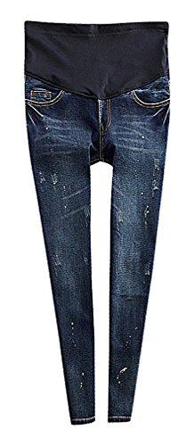 US&R, Women's Dark Wash Rip Detail Knees Secret Fit Belly Maternity Skinny Jeans, Blue 10 ,Manufacturer(XXL)