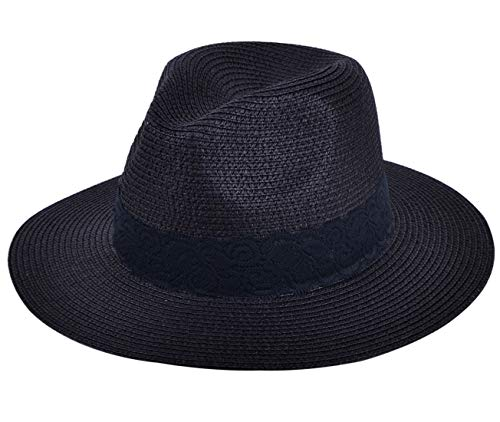 Lanzom Women Wide Brim Straw Panama Roll up Hat Fedora Beach Sun Hat UPF50+ (B-Black)]()