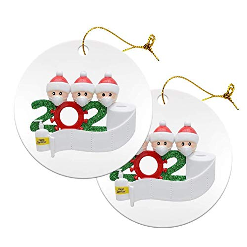 Christmas Ornaments 2020 Xmas Decorative Ornament DIY Quarantine Family Personalized Name with Face Mask Hand Sanitizer Toilet Paper, Creative Gifts for Family Customized (Family of 3 --White, 2Pcs)