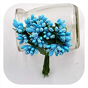 mamamoo 12Pcs/lot Handcraft Artificial Flowers Stamen Sugar Wedding Party Decoration DIY Wreath Gift Box Scrapbooking Fake Flowers,Deep Blue 16