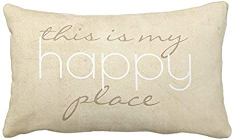 Amazon Com Uoopoo Quote Pillow This Is My Happy Place Throw Pillow Case Square 12 X 16 Inches Soft Cotton Canvas Home Decorative Wedding Cushion Cover For Sofa And Bed One Side Home