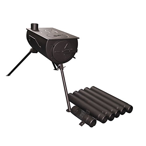 Shasta Vent Portable, Camping wood stove.  Military style.  Tent Heater, Ice Fishing, with venting & Carry case.  25 lbs.