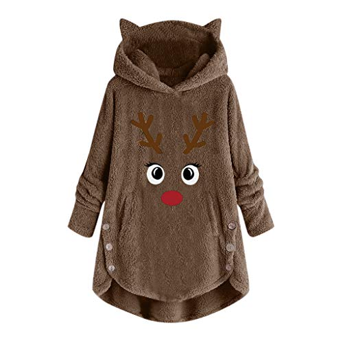 Yoyorule Tops Women Button Coat Letter Embroidery Pullover Loose Sweater Blouse Plus Size Ladies Casual Plush Top Pullover