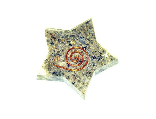 Jet Blue Aventurine Orgone Star Flat Christmas Tower Buster Piezo Electric EMF Protection Generator Frequency Ions Tested Cloud Chem Buster A++ (Mica Dome Pendant)