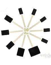 10-delige schuimborstels set platte flexibele schuine schuine sponsborstel set met houten handgrepen voor schilderen, ambachten, oliegebaseerde verf, vlek, glazuur, latexverf - 1 2 3 4 inch breedte