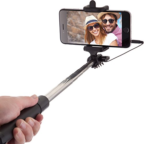 Power Theory Selfie Stick - Batterielose Selfie Stange ohne Bluetooth für iPhone 7 6s 6 Plus SE 5S 5C 5 Samsung Galaxy Android S7 S6 Edge S5 S4 S3 Note Mini GoPro Smartphone - Universal Monopod Stab mit AUX Kabel (Schwarz)