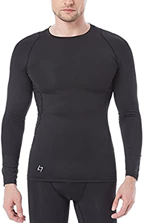 FITTIN Men's Athletic Long Sleeve Compression T Shirt - for Sport Running Basketball Football Small Black