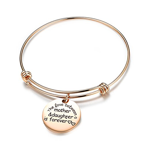 QILMILY Rose Gold Bangles with Charm-The Love Between A Mother and Daughter is Forever Stainless Steel Adjustable Bangle Wire Bracelet for Girls