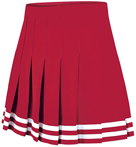 Double Knit Knife Pleat Skirt Red Medium