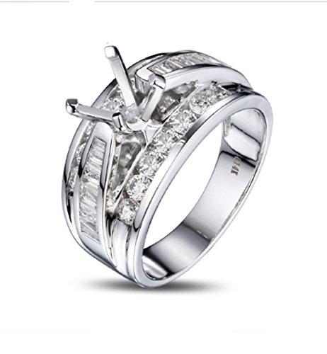 GOWE 6.5mm Round Cut Vinage Style Diamond Semi Mount Mens Ring 14k White Gold
