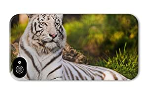 Hipster iPhone 4 case awesome cover White Tiger PC 3D for Apple iPhone 4/4S
