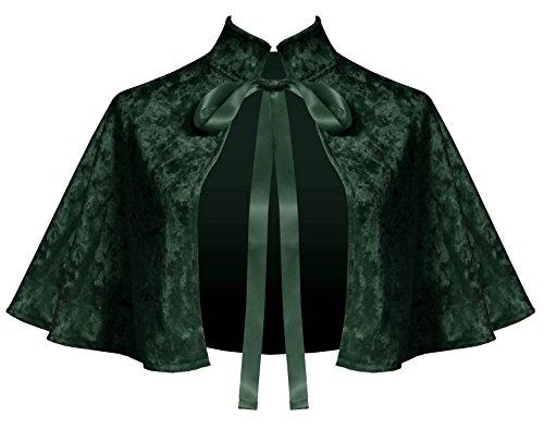 (Cykxtees Victorian Gothic Renaissance Steampunk Velvet Collar Capelet Forest Green)