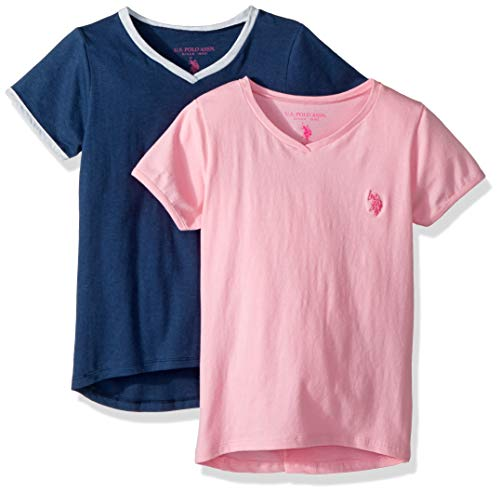 (U.S. Polo Assn. Girls' Toddler 2 T-Shirt, Ringer Pack Light Pink with Heather Navy Multi, 2T)
