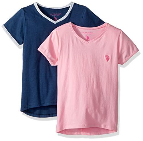 U.S. Polo Assn. Girls' Big 2 Pack T-Shirt, Pack Ringer Pack Light Pink with Heather Navy Multi, 10/12 (Girls Ringer T-shirt)