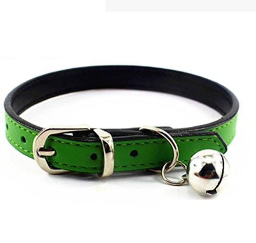 Klassische Hundehalsbänder mit Bell Hund Katze Ketten PU Leder (XS, Green)