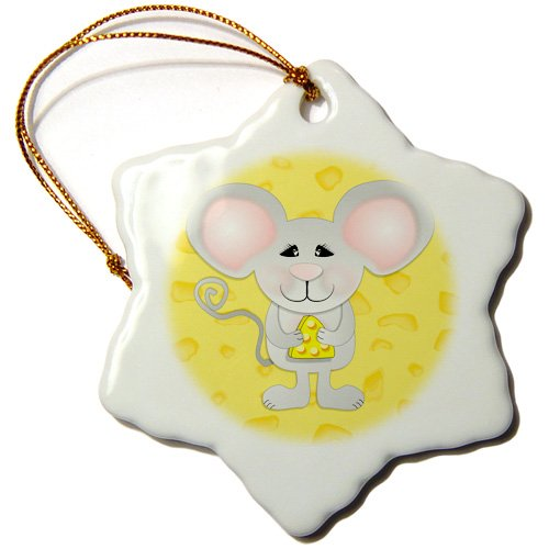 3dRose orn_116497_1 Cute Gray Mouse Holding Cheese on Cheese Background Animal Cartoon Snowflake Ornament, Porcelain, 3-Inch