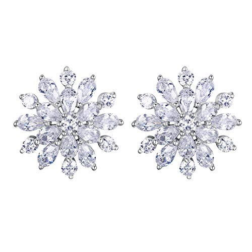 EVER FAITH Women's 925 Sterling Silver Cubic Zirconia Winter Snowflake Teardrop Stud Earrings Clear