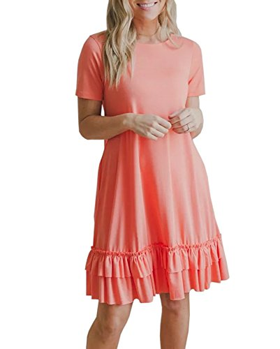 Dress Hem Ruffle (Youxiua Womens Casual Summer Dresses Short Sleeve Loose Flowy Ruffle Mini Dress with Pockets)