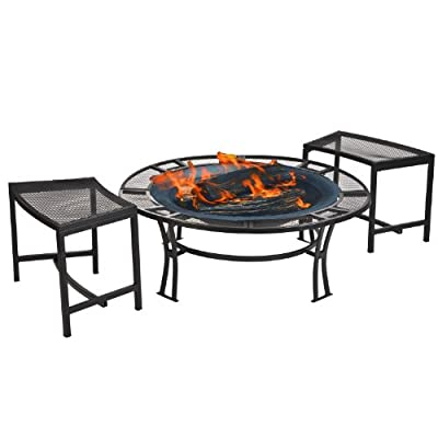 CobraCo Steel Mesh Rim Fire Pit and Two Bench Set with Screen and Cover FB6400-750 - Sturdy steel frame with powder coated black finish 5-Inch wide mesh screen table edge Two individual seating mesh benches included - patio, fire-pits-outdoor-fireplaces, outdoor-decor - 41GaIq%2BL4dL. SS400  -
