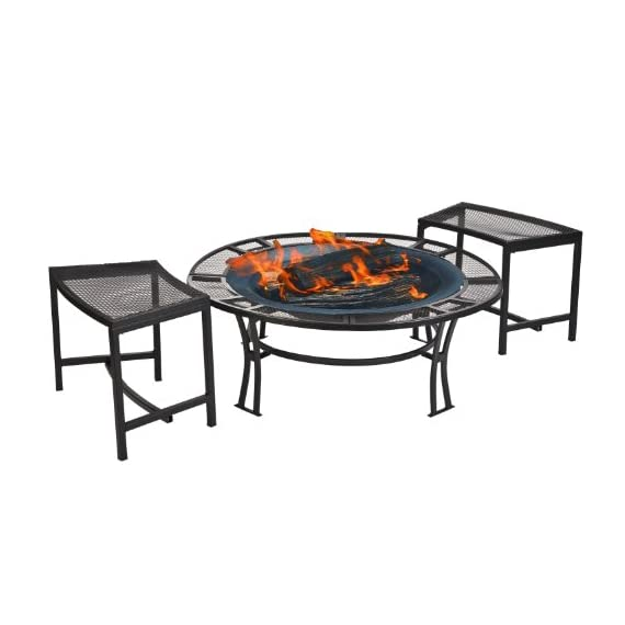 CobraCo Steel Mesh Rim Fire Pit and Two Bench Set with Screen and Cover FB6400-750 - Sturdy steel frame with powder coated black finish 5-Inch wide mesh screen table edge Two individual seating mesh benches included - patio, outdoor-decor, fire-pits-outdoor-fireplaces - 41GaIq%2BL4dL. SS570  -