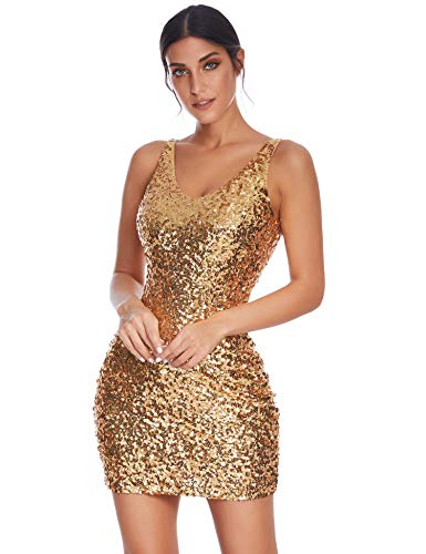 Meilun Women's Sexy Deep V Neck Sequin Glitter Pencil Bodycon Cocktail Stretchy Mini Party Dress (Gold, L)