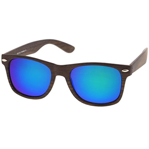 Classic Wood Printed Colored Mirror Square Lens Horn Rimmed Sunglasses 54mm (Dark Wood/Green-Blue ()