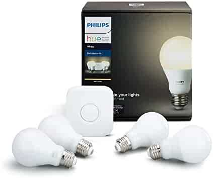 Philips Hue White A19 60W Equivalent LED Smart Bulb Starter Kit (4 A19 White Bulbs and 1 Hub Compatible with Amazon Alexa Apple HomeKit and Google Assistant)