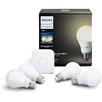 Philips Hue White A19 60W Equivalent LED Smart Light Bulb Starter Kit, 4 A19 White Bulbs and 1 Bridge, Works with Alexa, Apple HomeKit and Google Assistant